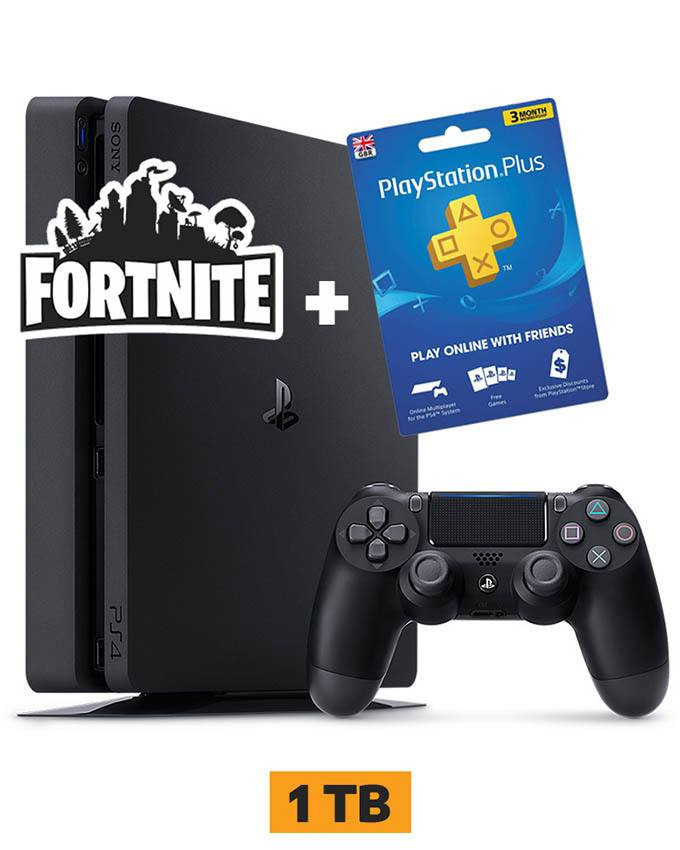 Konzola Sony PlayStation 4 Slim 1TB Black + Fortnite + PSN 90 dana