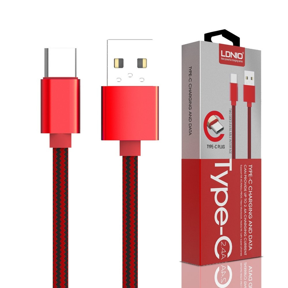 Kabl LDNIO Type C USB Cable 1m, Red