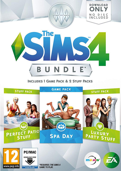 PCG The Sims 4 Bundle Pack 1 Perfect Patio Stuff + Spa Day + Luxury Party Stuff (Code in a Box)