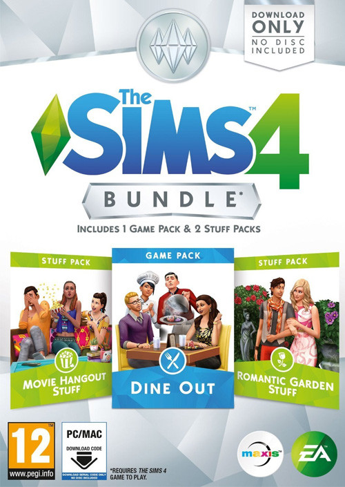 PCG The Sims 4 Bundle Pack 5 Dine Out + Movie Hangout Stuff + Romantic Garden Stuff (Code in a Box)