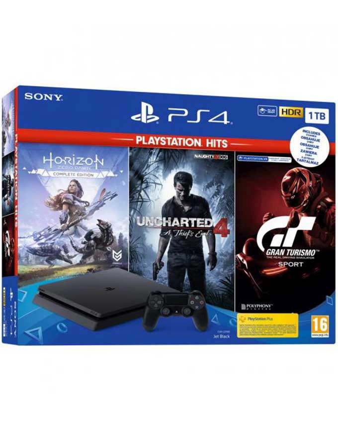 Konzola Sony Playstation 4 1TB + 3 PS4 igre (UC4 + HZD + GTS)