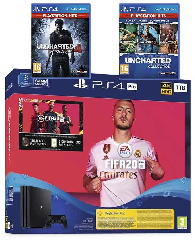 Konzola Sony Playstation 4 Pro 1TB Black + igre FIFA 20, Uncharted 4 i Collection