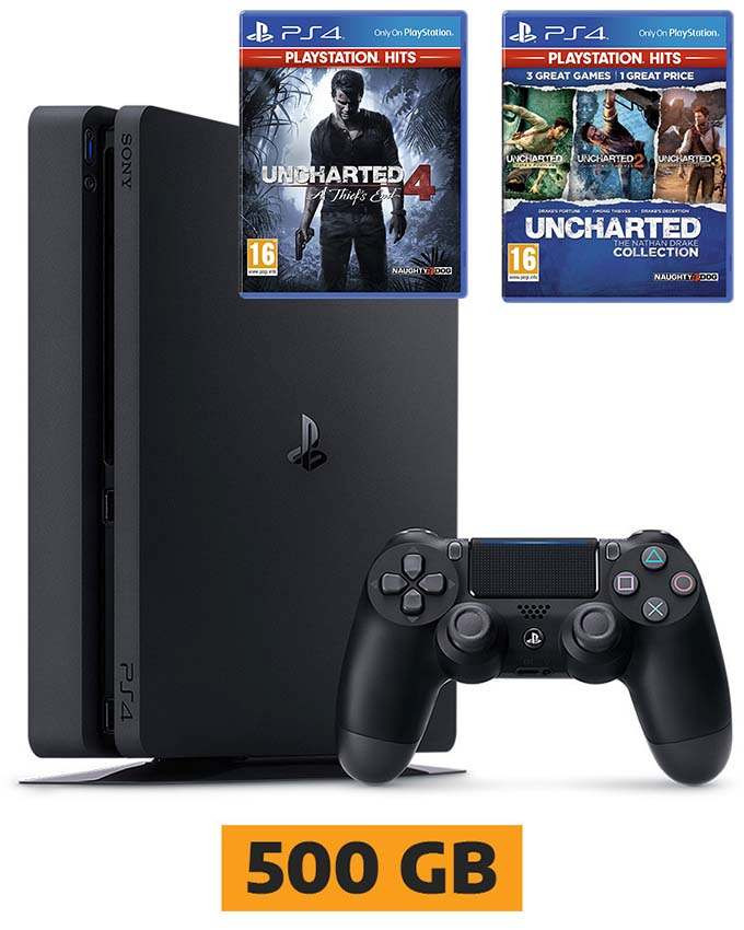 Konzola Sony PlayStation 4 Slim 500GB PS4 + Uncharted 4 i Uncharted Collection