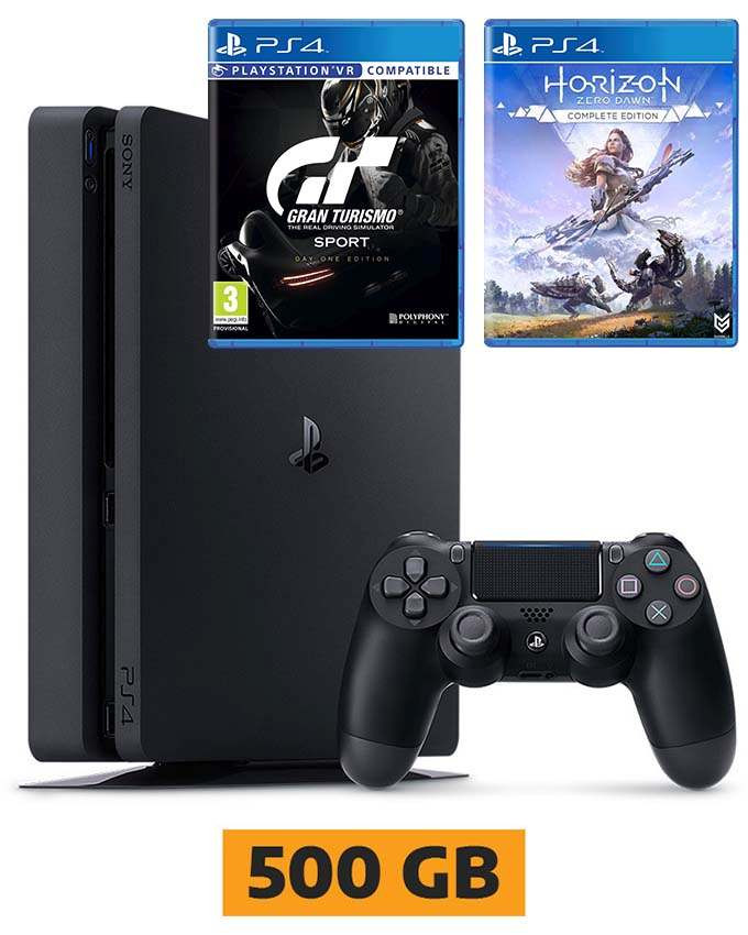 Konzola Sony PlayStation 4 Slim 500GB + Gran Turismo Sport i Horizon Zero Dawn