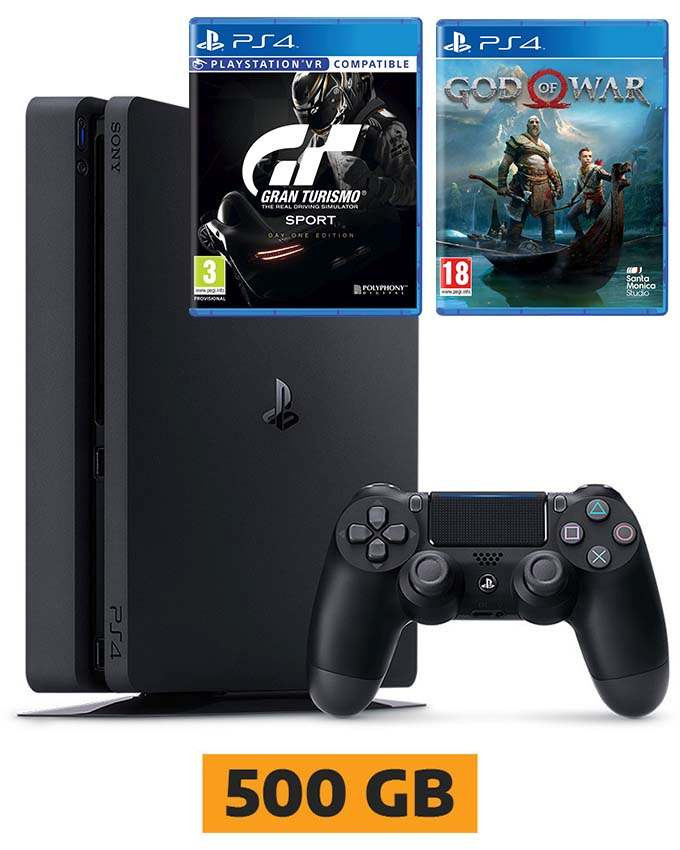 Konzola Sony PlayStation 4 Slim 500GB + Gran Turismo Sport i God of War