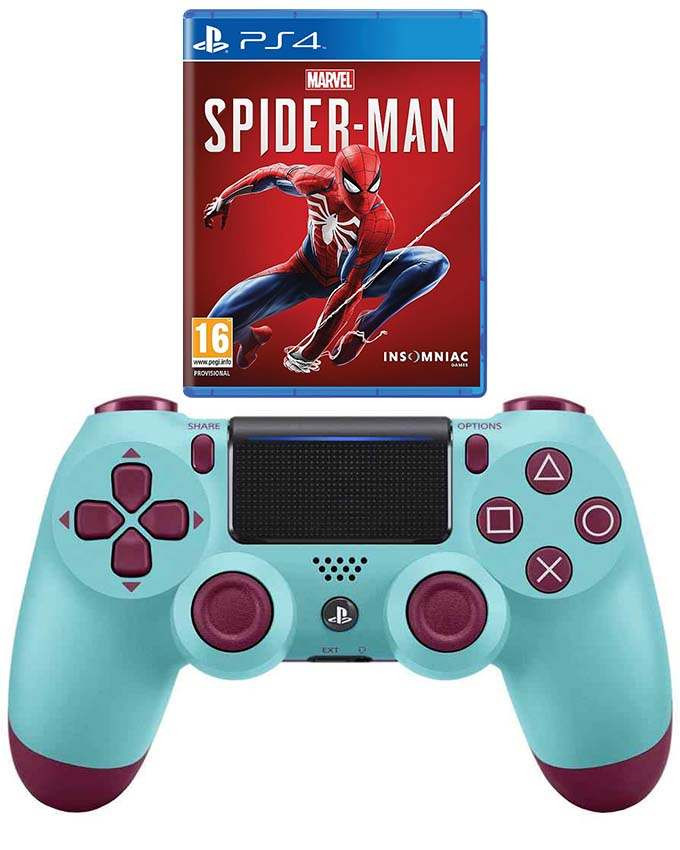 Dualshock 4 PS4 Berry Blue Gamepad + Marvels Spiderman