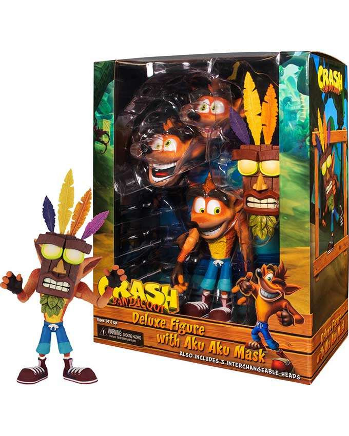 Figura Crash Bandicoot - Ultra Deluxe Crash Bandicoot with Aku Aku Mask 18 cm
