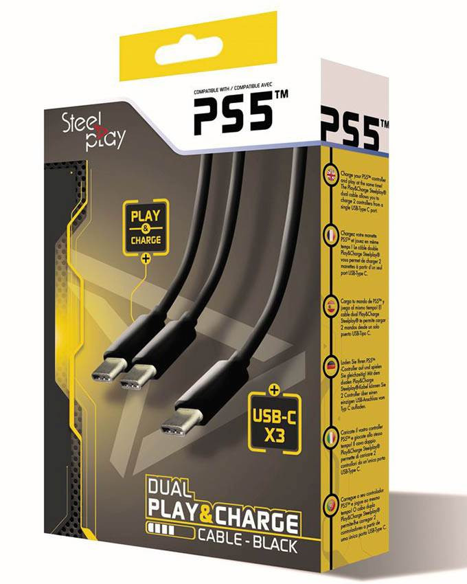 Kabl Steelplay Dual Play and Charge - Dual Type-C USB za PS5 Black